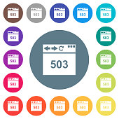 Browser 503 Service Unavailable flat white icons on round color backgrounds
