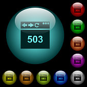 Browser 503 Service Unavailable icons in color illuminated glass buttons