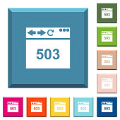 Browser 503 Service Unavailable white icons on edged square buttons