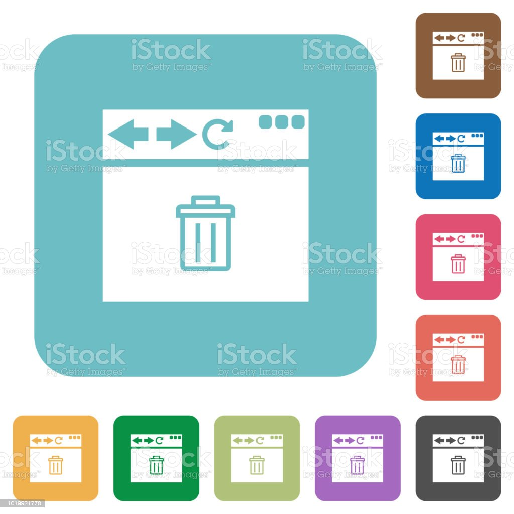 Browser delete rounded square flat icons