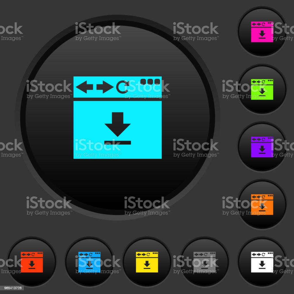 Browser download dark push buttons with color icons royalty-free browser download dark push buttons with color icons stock vector art & more images of applying