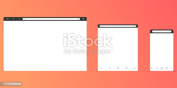 Browser mockup for computer, tablet and smartphone. Modern design of internet page in flat layout. Navigation search field with secure lock icon and favorites star. Vector EPS 10