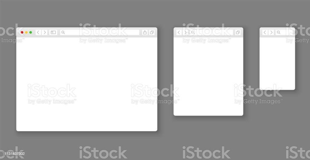 Mockups de navegador. Sitio web de diferentes dispositivos ventana Web móvil pantalla Internet plantilla plana vacía página red fila vector conjunto ilustración de mockups de navegador sitio web de diferentes dispositivos ventana web móvil pantalla internet plantilla plana vacía página red fila vector conjunto y más vectores libres de derechos de aplicación para móviles libre de derechos