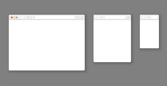 Browser mockups. Website different devices web window mobile screen internet flat template empty page network row vector set clipart