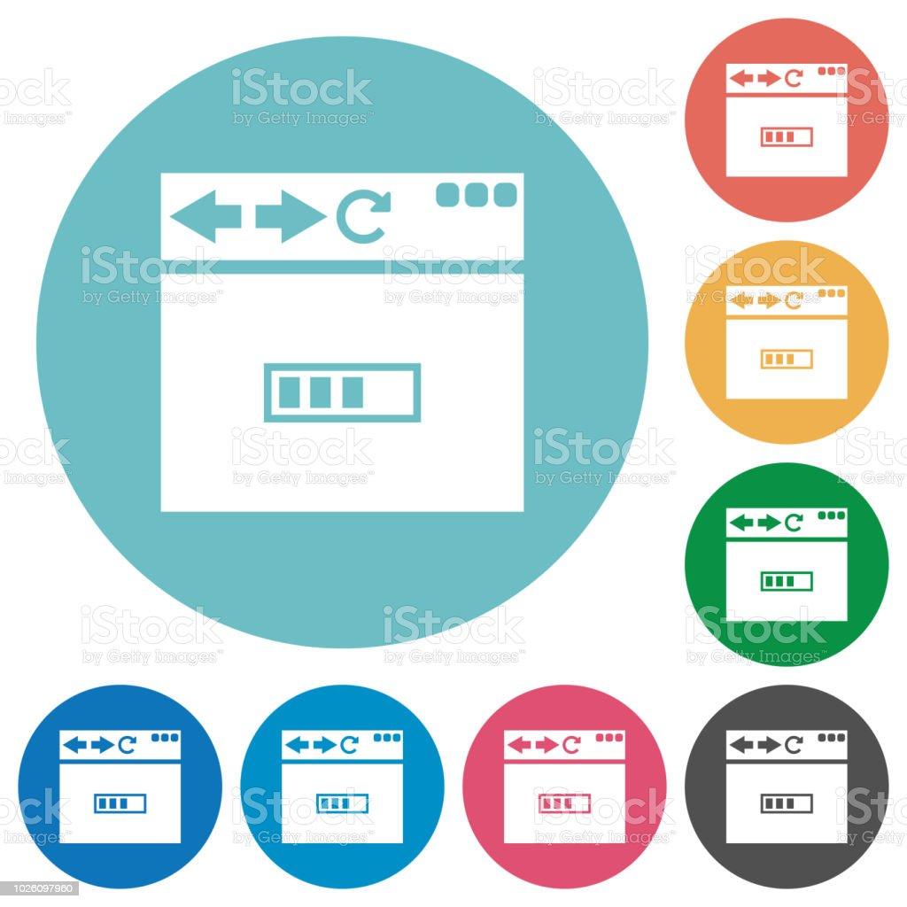 Navigateur page de chargement plat rond icônes - Illustration vectorielle