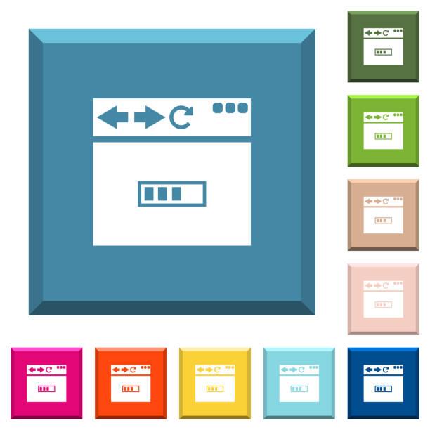 Page de navigateur icônes blanches sur les boutons carrés bordés de chargement - Illustration vectorielle