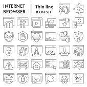 Browser thin line icon set, Internet technology collection, vector sketches, logo illustrations, web symbols outline style pictograms package isolated on white background, eps 10