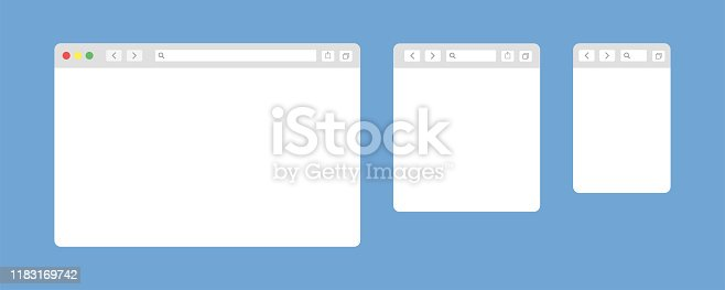 Browser window isolated vector web elements. Design template with browser window for mobile device design. Blank template. Website template design. Mockup for web site design. EPS 10