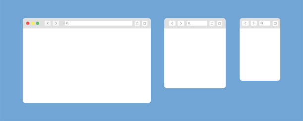 Browser window isolated vector web elements. Design template with browser window for mobile device design. Blank template. Website template design. Mockup for web site design. Browser window isolated vector web elements. Design template with browser window for mobile device design. Blank template. Website template design. Mockup for web site design. EPS 10 web browser stock illustrations