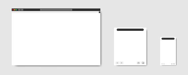 Browser window web elements. Vector illustration. Website template design.