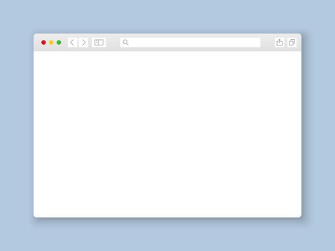 Browser window. Web interface mock screen internet document mockup website flat blank frame tab page elements, vector illustration