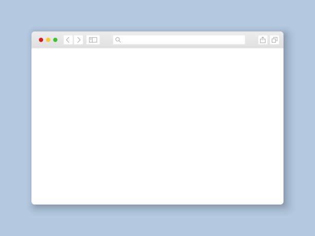 okno przeglądarki. interfejs www makieta ekranu ekranu dokumentu internetowego makiety witryny płaskiej pustej ramki elementy strony, ilustracja wektorowa - okno stock illustrations