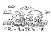 Hand-drawn vector drawing of Browsing Cartoon Sheep On a Meadow. Black-and-White sketch on a transparent background (.eps-file). Included files are EPS (v10) and Hi-Res JPG.