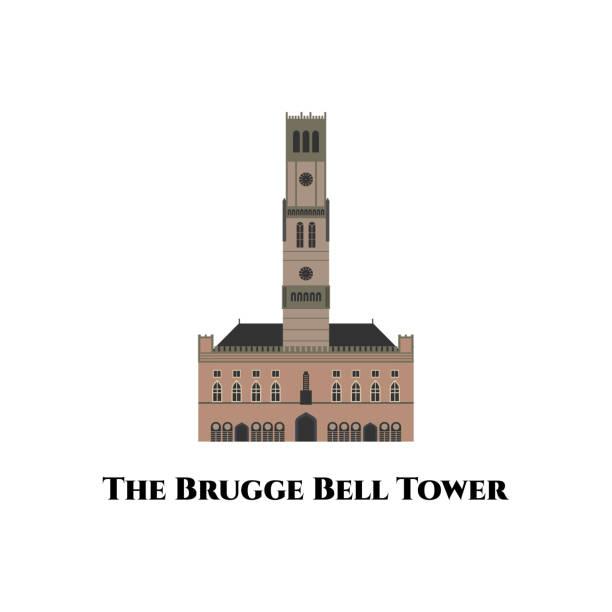 брюгге старой архитектуры здания. колокольня брюгге () - средневековая колокольня в центре брюгге, бельгия. это - обязательно, если вы посеща� - unesco stock illustrations
