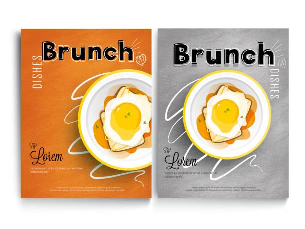 brunch-kochbuch oder rezeptbuch design decken. frühstück und mittagessen gerichte kombination... - brunch stock-grafiken, -clipart, -cartoons und -symbole