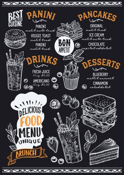 bildbanksillustrationer, clip art samt tecknat material och ikoner med brunch mat menymall för restaurang med kockar hatt bokstäver. - crepe