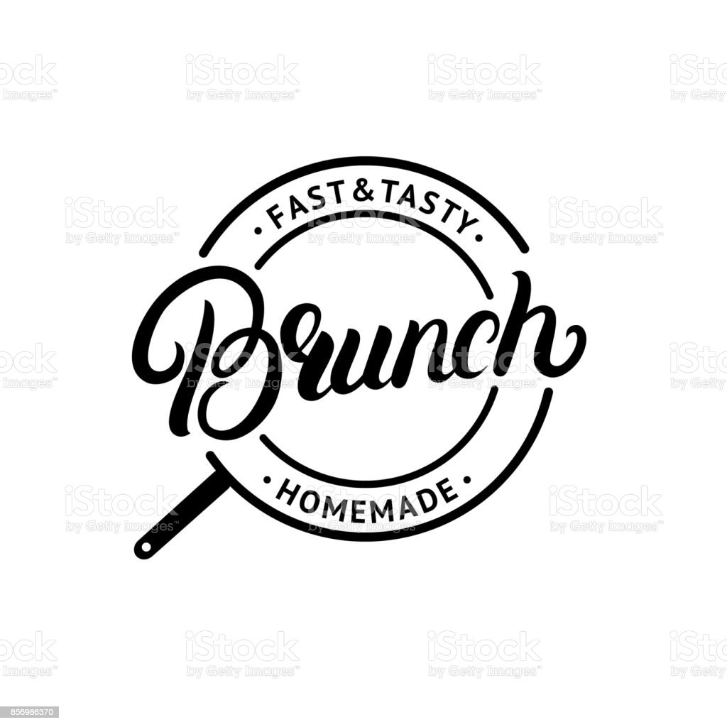 Brunch manuscrite lettrage logo, étiquette, emblème, signe. - Illustration vectorielle