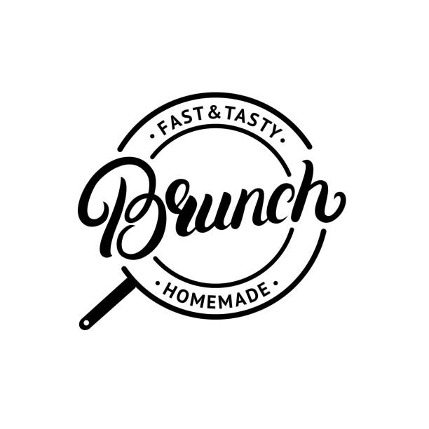 Brunch hand written lettering logo, label, emblem, sign. vector art illustration
