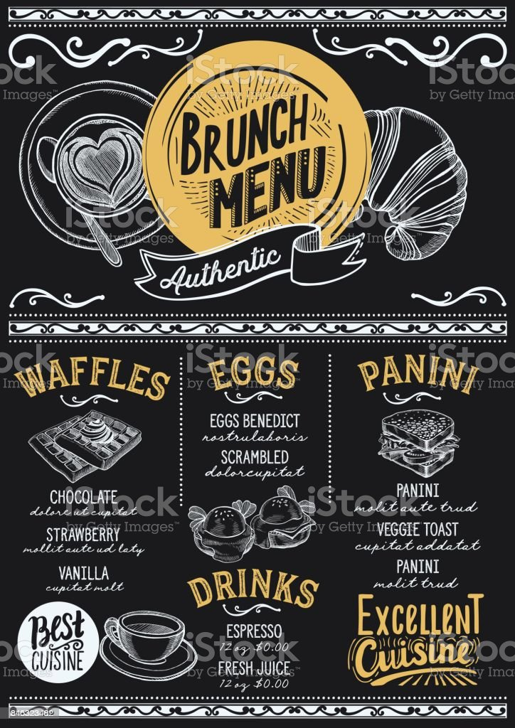 Brunch menu restaurant, food template. vector art illustration
