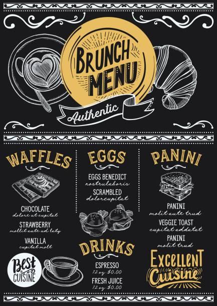brunch-menü restaurant, essen-vorlage. - frühstück stock-grafiken, -clipart, -cartoons und -symbole
