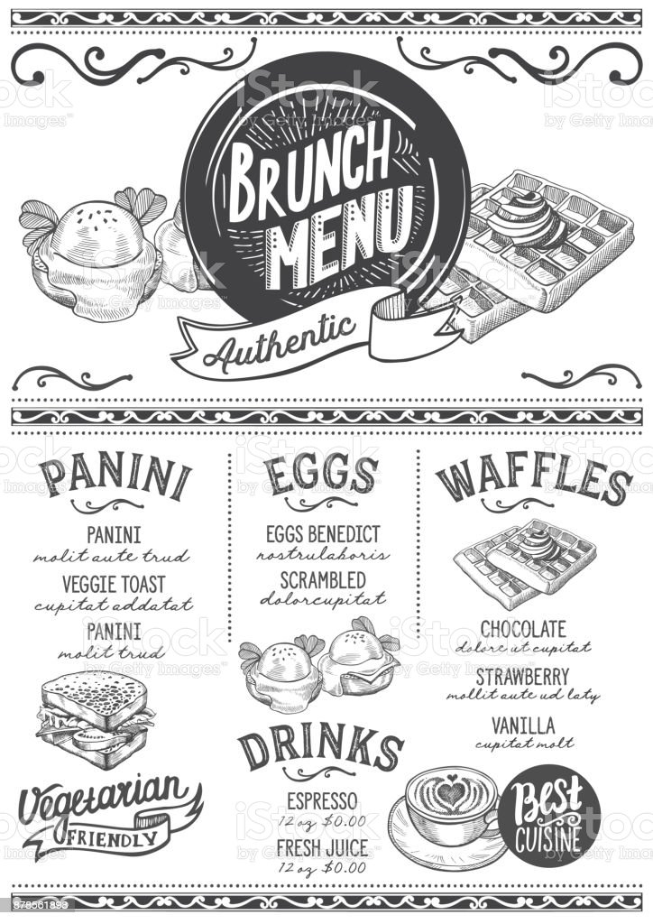 brunch menu restaurant food template stock vector art more images