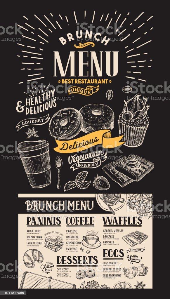 Brunch Restaurant Menu Dessert Food Flyer For Cafe Design Template With Vintage Handdrawn Illustrations Stock Illustration Download Image Now Istock