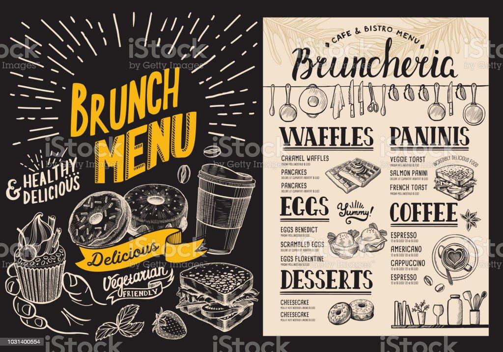 brunch restaurant menu on blackboard background vector food flyer