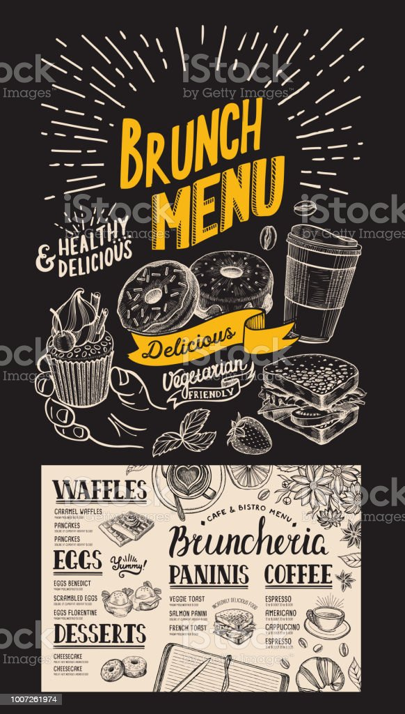 ブランチ レストランのメニューベクトル食品チラシのバーカフェ黒板背景