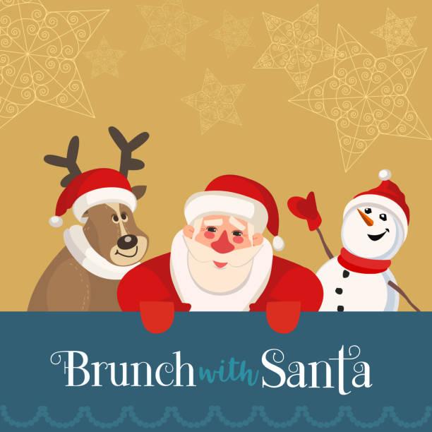 bildbanksillustrationer, clip art samt tecknat material och ikoner med brunch med santa - christmas gift family