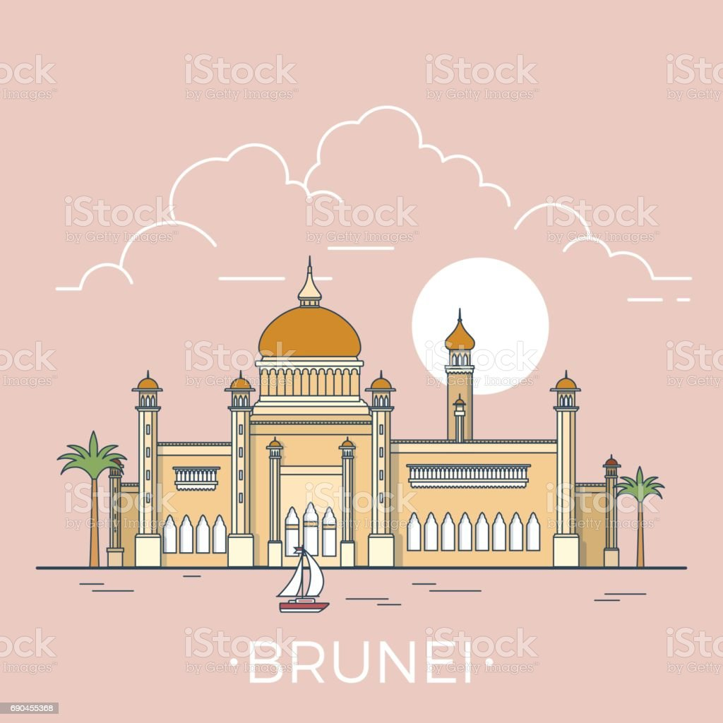 Brunei Country Design Template Linear Flat Famous Historic