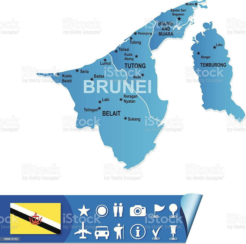 Brunei Map Stock Vector Art More Images Of Asia 165815152 Istock