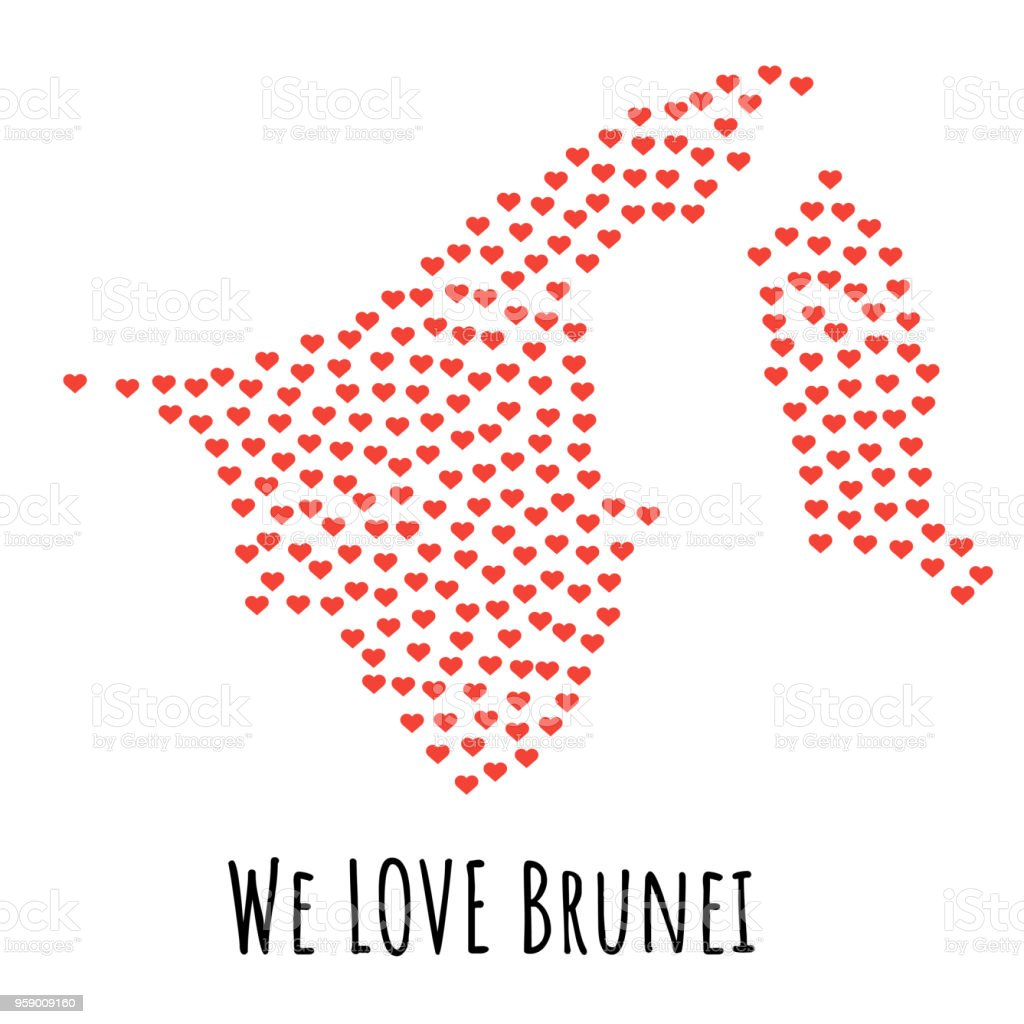 Brunei Map With Red Hearts Symbol Of Love Abstract Background Stock