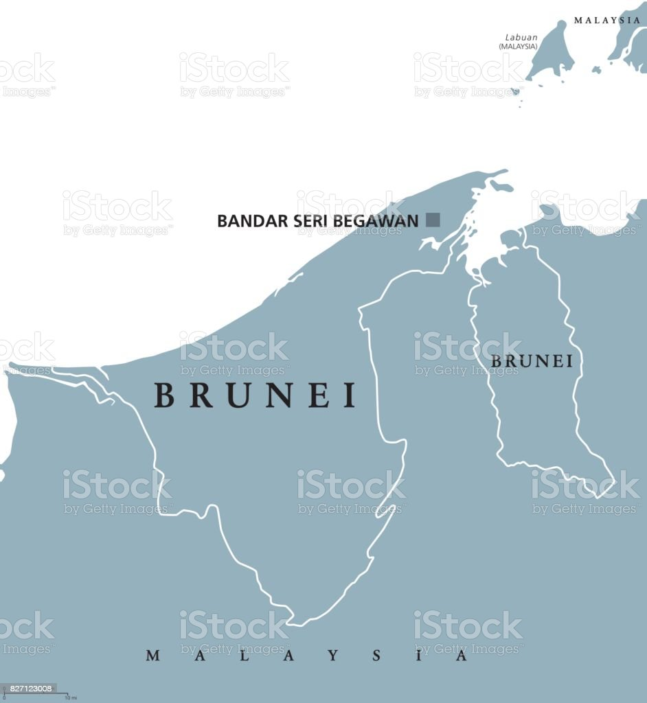 Brunei Political Map Stock Vector Art More Images of Asia