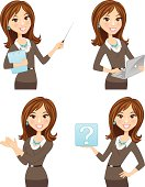 Brunette business woman in multiple poses