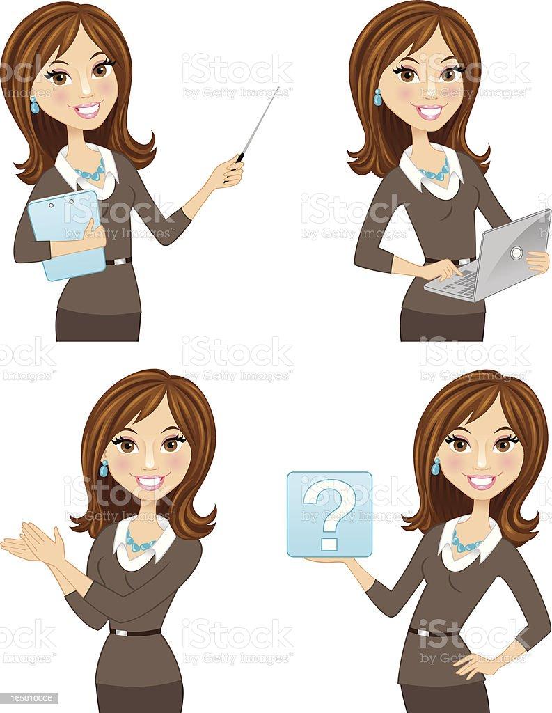 Brunette business woman in multiple poses vector art illustration