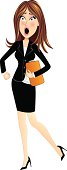 Business woman surprised and in a hurry