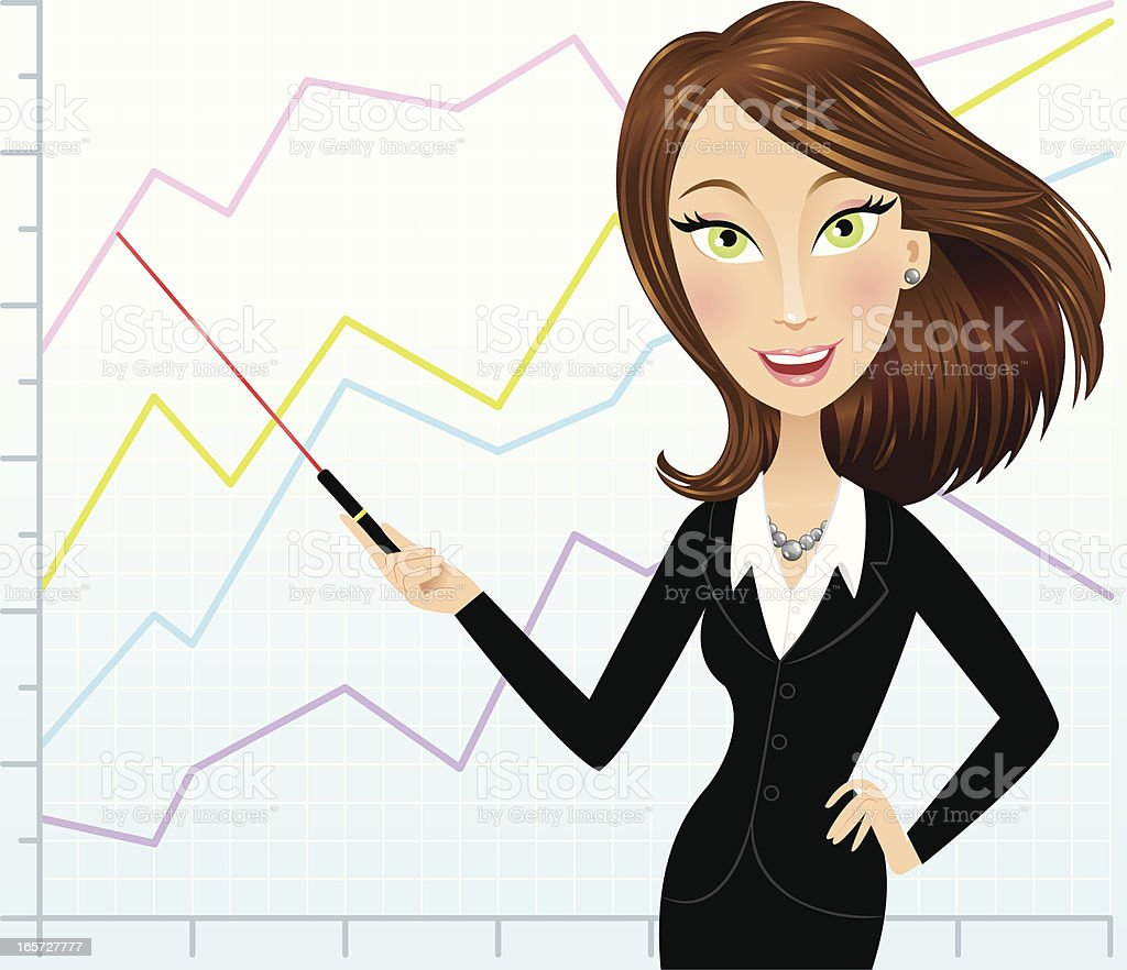 Brunette business woman with line graph vector art illustration