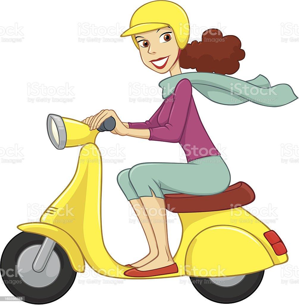 Brunette impulsa un ciclomotor amarillo ilustración de brunette impulsa un ciclomotor amarillo y más banco de imágenes de accesorio de cabeza libre de derechos