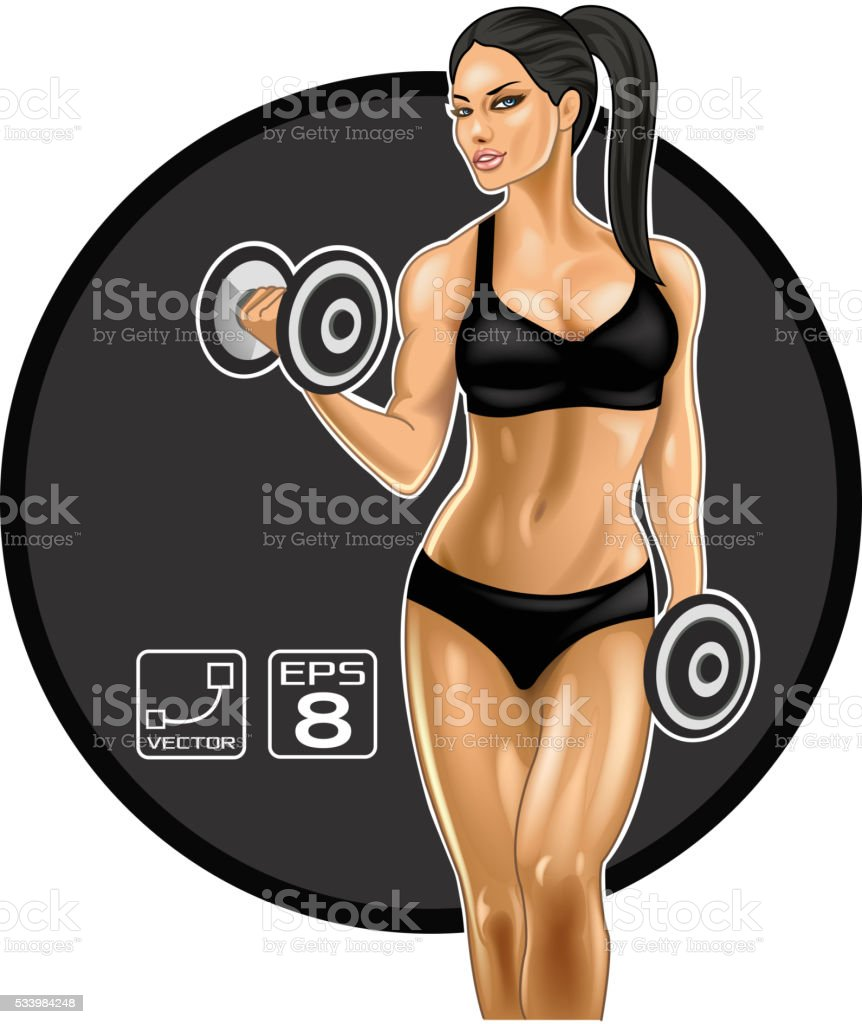 Brunette fitness woman vector art illustration