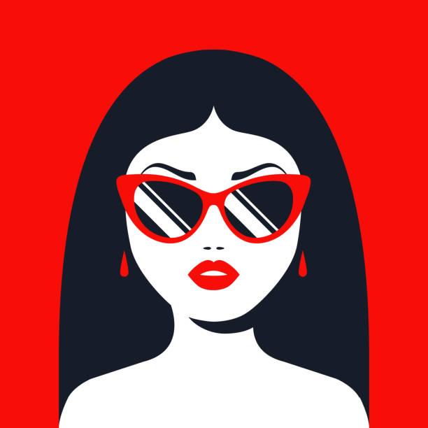 brünette mädchen in sonnenbrille und roten lippenstift - glasohrringe stock-grafiken, -clipart, -cartoons und -symbole