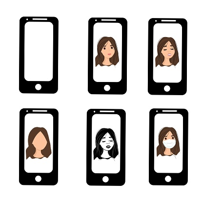 Brunette girl on the phone screen. Emotions of a woman on the screensaver of a smartphone. Remote communication using gadgets. Stock vector illustration for business, internet, social networks.