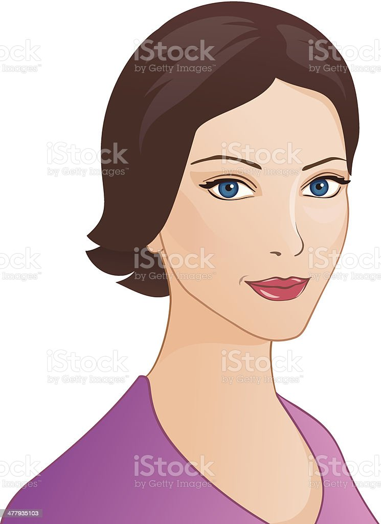 Brunette girl portrait vector art illustration
