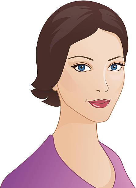 ilustraciones, imágenes clip art, dibujos animados e iconos de stock de brunette girl retrato - ojos azules