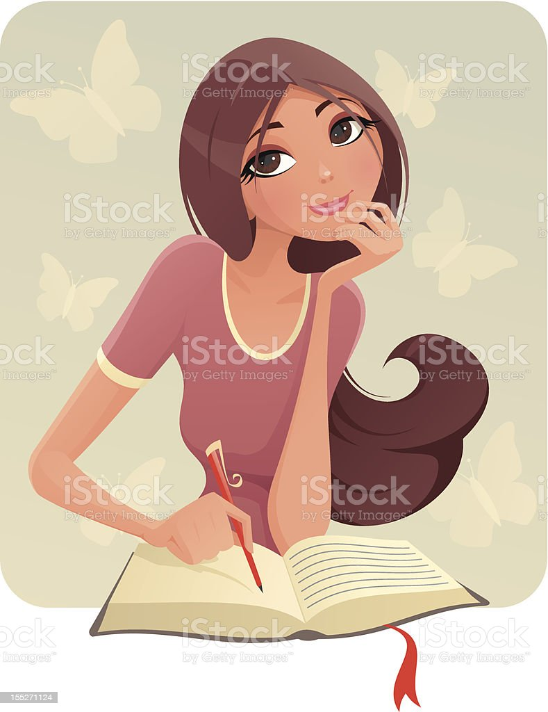Brunette girl writing on what appears to be a diary vector art illustration