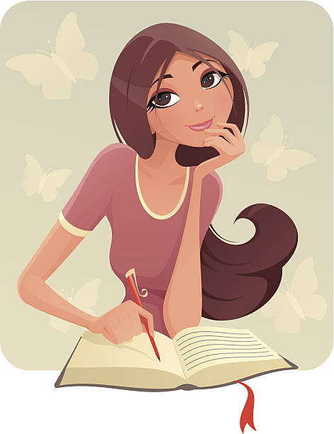 Brunette girl writing on what appears to be a diary Illustration of a Girl that is keep a Diary. beautiful woman stock illustrations