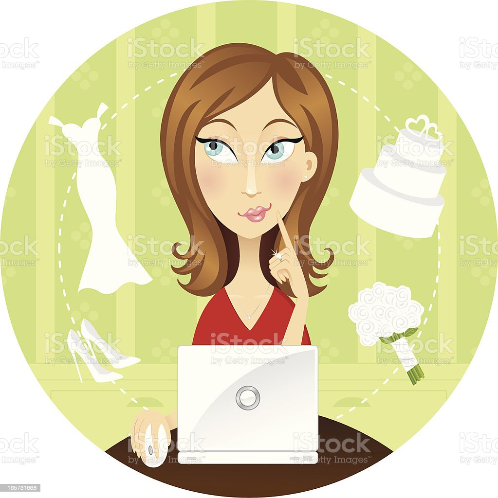 Brunette planning her wedding on a laptop royalty-free stock vector art
