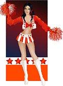 Brunette sexy cheerleader
