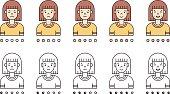 Brunette woman emoji vector set. Simple outline design.
