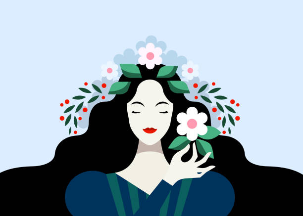 ilustraciones, imágenes clip art, dibujos animados e iconos de stock de mujer morena con flores - cabello largo