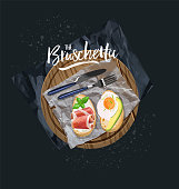 Bruschetta with avocado, egg and bruschetta with bacon served. Vector graphics.